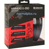 Гарнитура DEFENDER Warhead G-260, красный/черный.