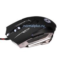 Мышь Лазерная игровая,7 кнопок,4000 точек/дюйм,красочная подсветка,проводная USB,утяжелённая,тихая