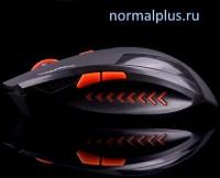 Мышь беспроводная лазерная AZZOR Black-red(тихая) 2400dpi/USB/6 кнопок