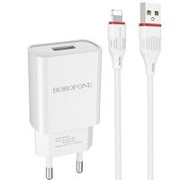 Адаптер питания Borofone BA20A Sharp White зарядка 2.1А 1 USB-порт плюс кабель для Apple, белый