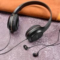Проводные наушники HOCO с микрофоном,полноразмерные W24 Enlighten + вакуумные
