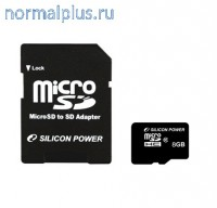 Карта памяти 8 GB SDHC Silicon Power micro SDHC Class10